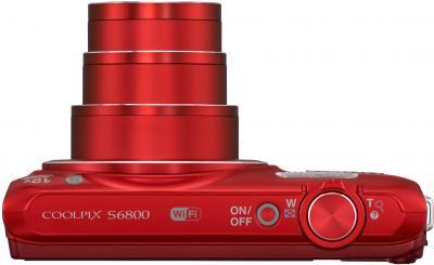 Компактный фотоаппарат Nikon Coolpix S6800 (Red) - вид сверху