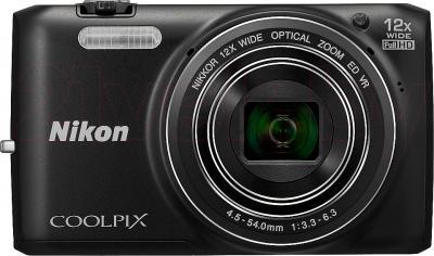 Компактный фотоаппарат Nikon Coolpix S6800 (Black) - вид спереди