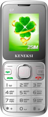 Мобильный телефон Keneksi C7 (серебристый) - вид спереди