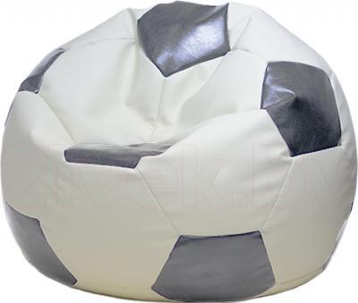 Бескаркасное кресло Baggy Футбольный мяч Мини (бело-серое) - общий вид