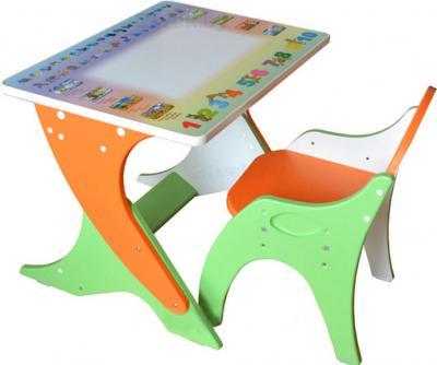 Парта+стул Интехпроект Зима-лето 14-354 (эвкалипт и оранжевый) - общий вид