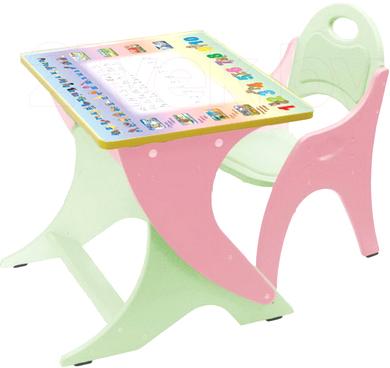 Парта+стул Интехпроект День-ночь 14-373 (фисташковый и розовый) - общий вид