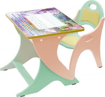 Парта+стул Интехпроект День-ночь 14-377 (салатовый и персиковый) - общий вид