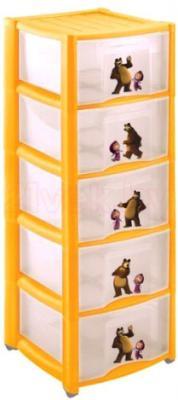 Комод пластиковый Пластишка Маша и Медведь 4313797 (5 ящиков, желтый) - общий вид