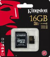 Карта памяти Kingston microSDHC UHS-I (Class 10) 16GB + SD адаптер (SDCA10/16GB) -