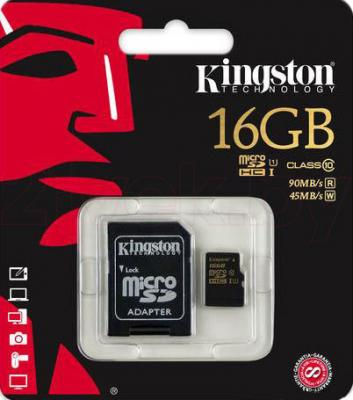 Карта памяти Kingston microSDHC UHS-I (Class 10) 16GB + SD адаптер (SDCA10/16GB) - общий вид