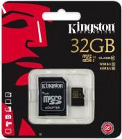Карта памяти Kingston microSDHC UHS-I (Class 10) 32GB + SD адаптер (SDCA10/32GB) -