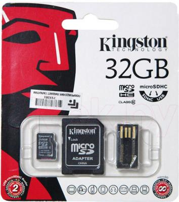 Карта памяти Kingston microSDHC (Class 10) 32GB + адаптер (MBLY10G2/32GB) - общий вид