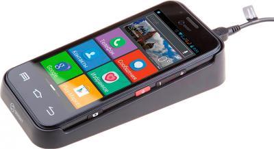 Смартфон Senseit L301 (черный) - с настольной зарядкой