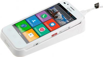 Смартфон Senseit L301 (белый) - с настольной зарядкой
