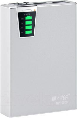 Портативное зарядное устройство Hiper MP10000 (серебристый) - общий вид