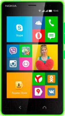 Смартфон Nokia X2 Dual (зеленый) - вид спереди
