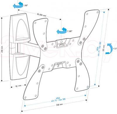 Кронштейн для телевизора Holder LCDS-5020 (белый) - габаритные размеры