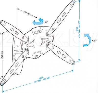 Кронштейн для телевизора Holder LCDS-5026 (белый) - габаритные размеры