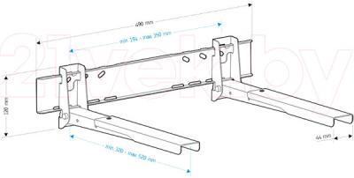 Кронштейн для СВЧ Holder MWS-U006 (серебристый) - габаритные размеры