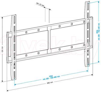 Кронштейн для телевизора Holder LCD-F6607-B - габаритные размеры