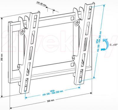 Кронштейн для телевизора Holder LCD-T2609-B - габаритные размеры