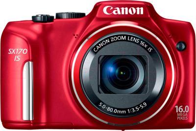 Компактный фотоаппарат Canon PowerShot SX170 IS Kit (Red) - вид спереди