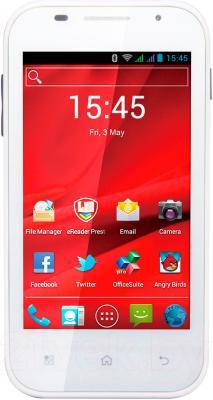 Смартфон Prestigio MultiPhone 4044 Duo (белый) - вид спереди
