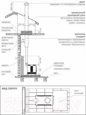 Печь отопительно-варочная Теплодар Матрица-200 - схема подключения