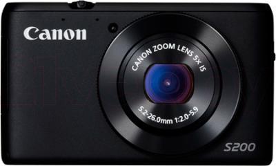 Компактный фотоаппарат Canon Powershot S200 (Black) - фронтальный вид