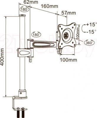 Кронштейн для телевизора Arm Media LCD-T2 (серебристый) - габаритные размеры