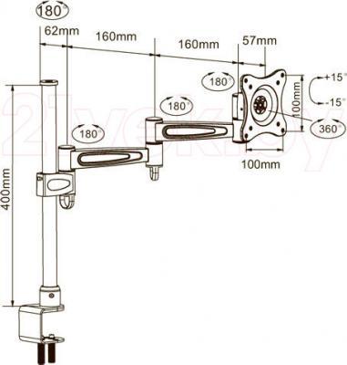 Кронштейн для телевизора Arm Media LCD-T3 (Silver) - габаритные размеры