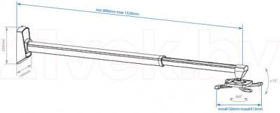 Кронштейн для телевизора Arm Media PROJECTOR-11 (серебристый) - габаритные размеры