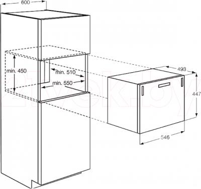 Посудомоечная машина AEG F55200VI0 - схема встраивания