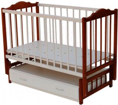 Детская кроватка Bambini Э01.10.02 (Белая-Орех) - общий вид