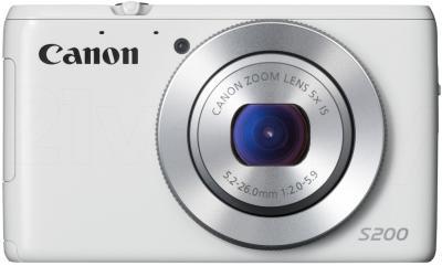 Компактный фотоаппарат Canon Powershot S200 (White) - фронтальный вид