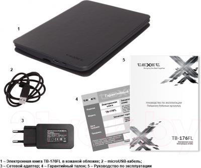 Электронная книга TeXet TB-176FL (Gray) - комплектация