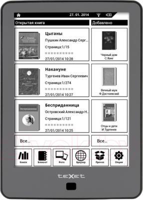 Электронная книга TeXet TB-176FL (Gray) - общий вид