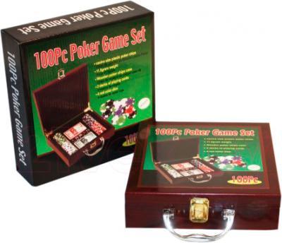 Набор для покера NoBrand 6641-M1 (в чемодане, 100 фишек) - упаковка