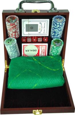 Набор для покера NoBrand 6641-M1 (в чемодане, 100 фишек)