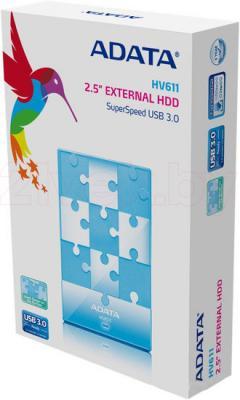 Внешний жесткий диск A-data HV611 1TB Blue (AHV611-1TU3-CBL) - упаковка