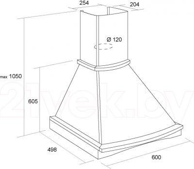 Вытяжка купольная Pyramida R 60 Black/U - схема вытяжки и размеры
