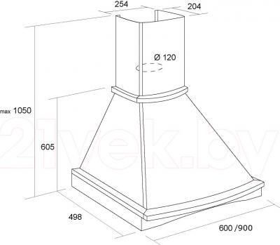 Вытяжка купольная Pyramida R 90 Ivory/U - схема вытяжки и размеры