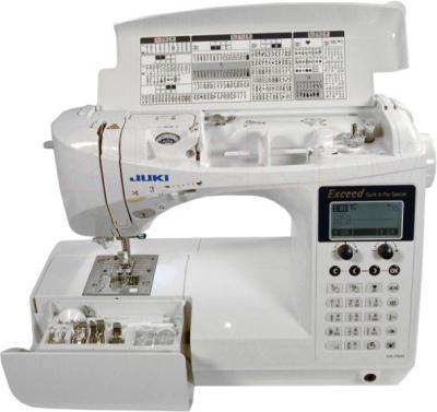 Швейная машина Juki HZL-F600 - отсек для аксессуаров и швейный советчик