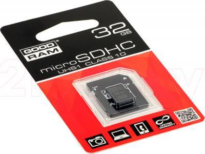 Карта памяти Goodram microSDHC UHS-I U1 Class 10 32GB + адаптер (SDU32GHCUHS1AGRR10) - общий вид