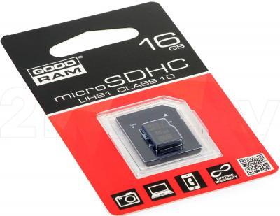Карта памяти Goodram microSDHC UHS-I U1 Class 10 16GB + адаптер (SDU16GHCUHS1AGRR10) - общий вид