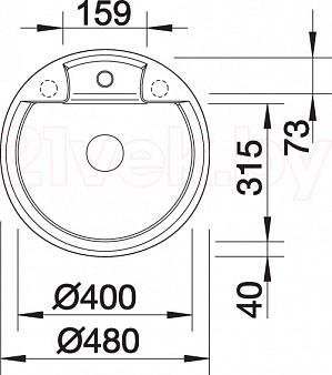 Мойка кухонная Blanco Tarma 45 (519132) - габаритные размеры