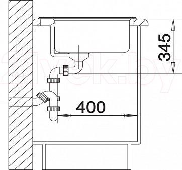 Мойка кухонная Blanco Kivo 6 / 519166 - монтажные размеры