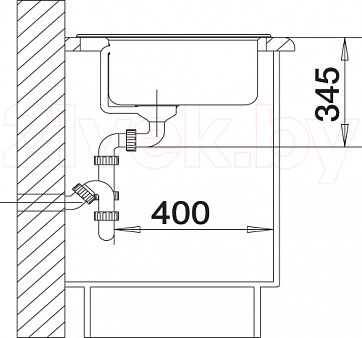Мойка кухонная Blanco Kivo 6 (519168) - монтажные размеры