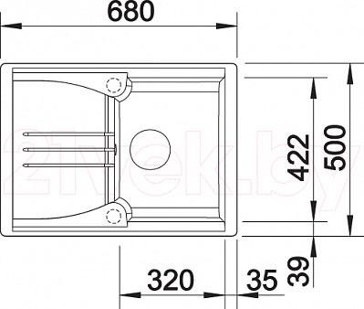 Мойка кухонная Blanco Teno 40S (519173) - габаритные размеры