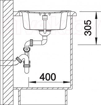 Мойка кухонная Blanco Teno 40S (519175) - монтажные размеры