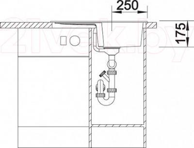 Мойка кухонная Blanco Teno 40S (519176) - монтажные размеры