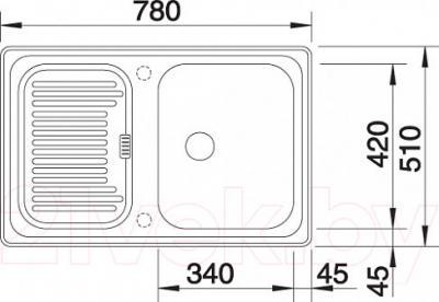 Мойка кухонная Blanco Legra 45S / 519169 - габаритные размеры