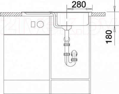 Мойка кухонная Blanco Legra 45S / 519169 - монтажные размеры