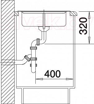Мойка кухонная Blanco Legra 45S (519170) - монтажные размеры